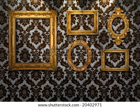 Gold frames, retro wallpaper, spotlights from above,similar available in my portfolio - stock photo