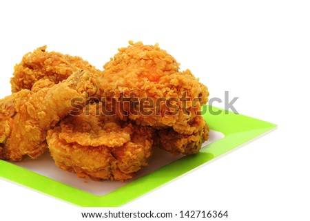 Gold fried chicken - stock photo
