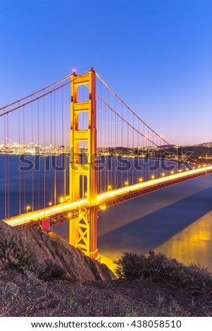 gold gate bridge in sunset
