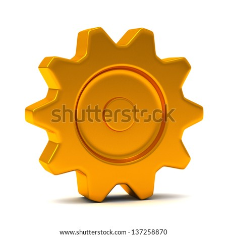 Gold gear, 3d - stock photo