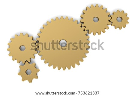 Gold gears on white background. 3D illustration.