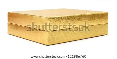 gold gift box on a white background - stock photo
