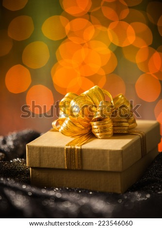 Gold Gift box with gold ribbon
