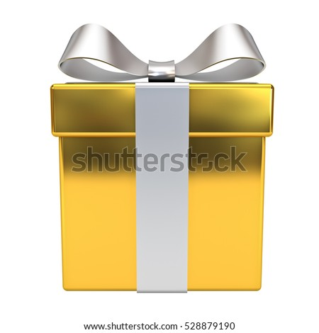 Gold gift box with silver ribbon bow isolated on white background. 3D rendering.