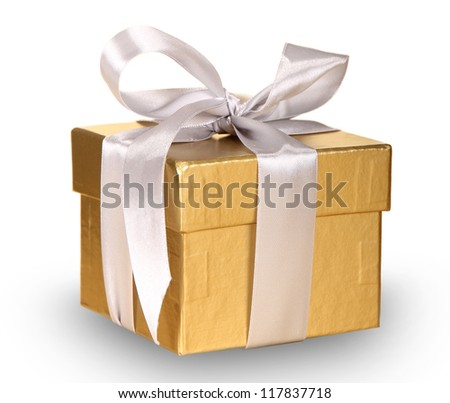 Gold gift over white background - stock photo
