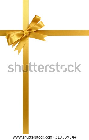 Gold gift ribbon and bow isolated on white vertical