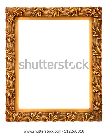 Gold (gilded) antique picture frame decorated with unusual oak leaf pattern. Isolated on white.