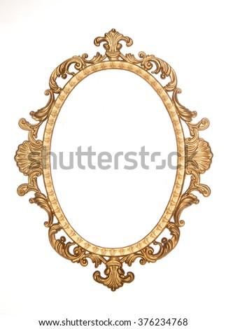 Gold gilt decorative rococo frame isolated - stock photo