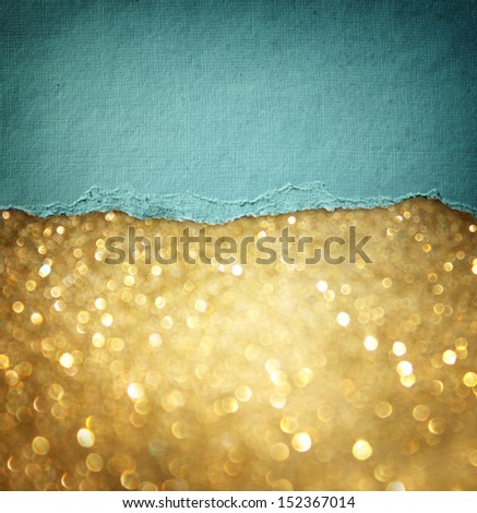 gold glitter background and blue vintage torn paper . room for copy space. - stock photo