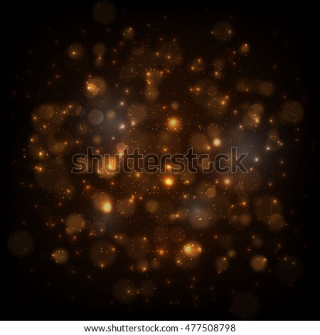Gold glitter background with bokeh lights