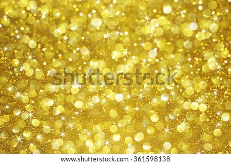 gold glitter bokeh with stars abstract background