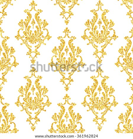 Gold glitter damask floral seamless pattern, golden sparkles on white background, vip design template