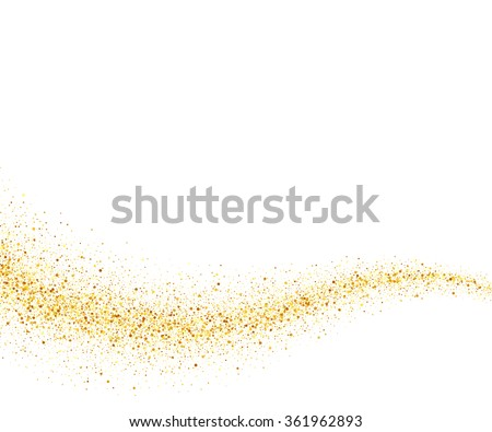 Gold glitter wave abstract background, golden sparkles on white background, design template