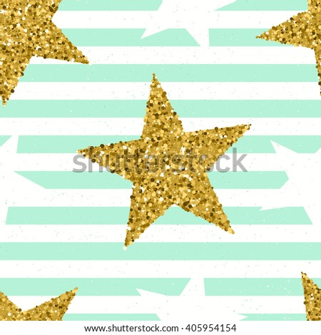 Gold glittering stars confetti seamless pattern on striped background.