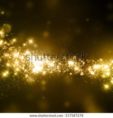 Gold glittering stars dust trail background - stock photo