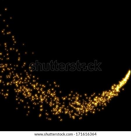 gold glittering stars tail dust - stock photo