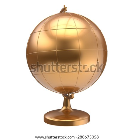 Gold globe blank planet Earth global geography school studying world cartography symbol icon yellow golden. 3d render isolated on white background - stock photo