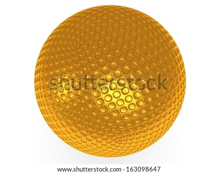 Gold golf ball isolated on white. 3d render. Sport, VIP concept.
