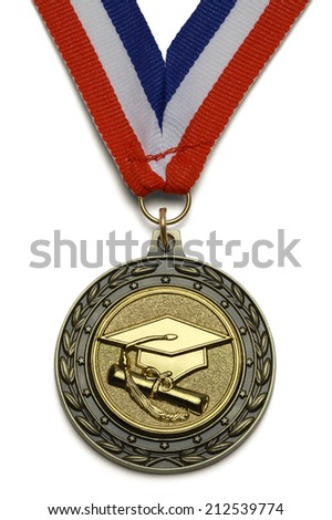 Gold Graduation Award Medal With Ribbon Isolated on White Background. - stock photo