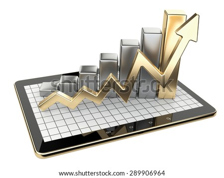 Gold graph and chart on tablet pc - Business statistic concept. 3d image isolated on a white background