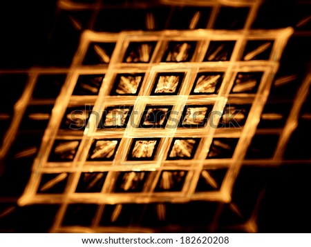 Gold grid, nanotechnology, computer generated fractal background