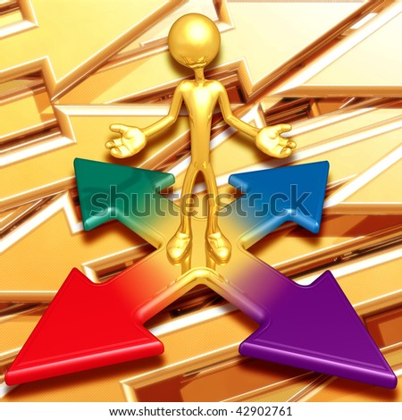 Gold Guy At The Crossroad - stock photo