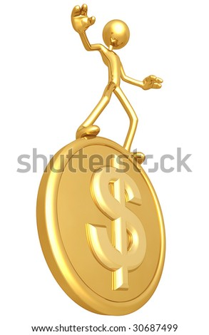Gold Guy Balancing On Gold Dollar Coin - stock photo