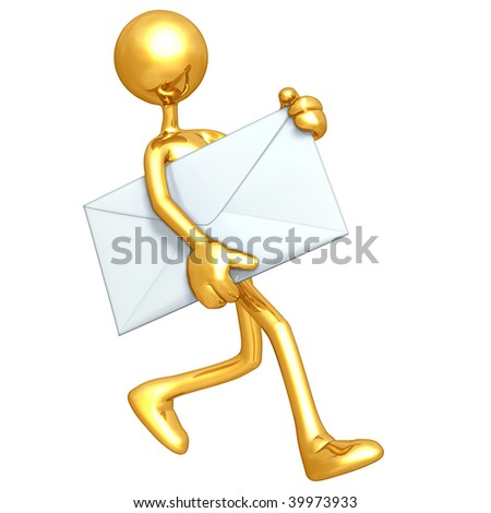Gold Guy Mail Email - stock photo