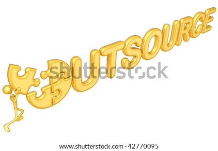 Gold Guy Outsource Puzzle - stock photo