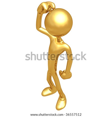Gold Guy Puzzled - stock photo