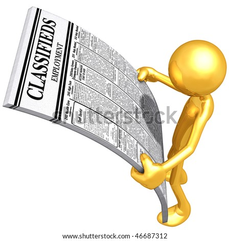 Gold Guy Reading Employment Classifieds - stock photo