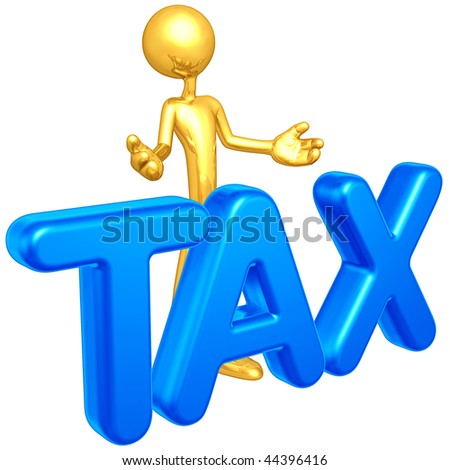 Gold Guy Tax Concept - stock photo