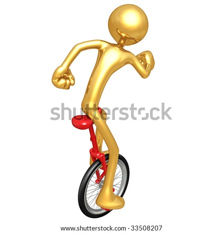 Gold Guy Unicycling