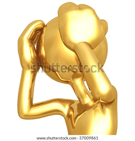Gold Guy With A Headache - stock photo