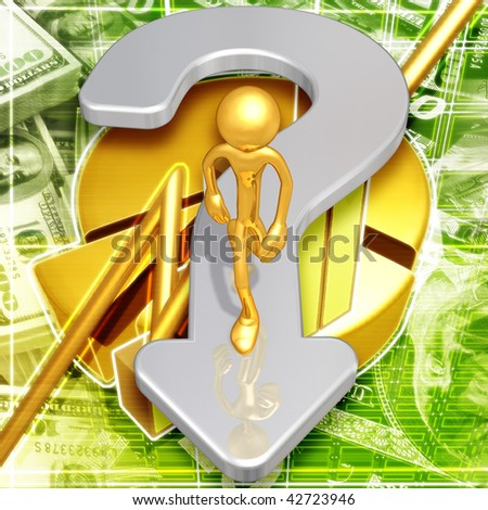 Gold Guy With A Question - stock photo