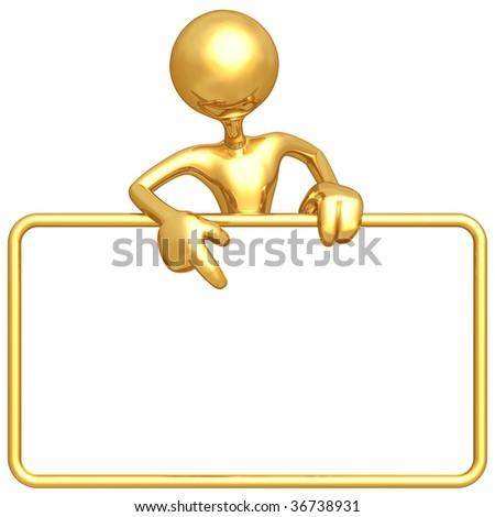 Gold Guy With Blank Sign - stock photo