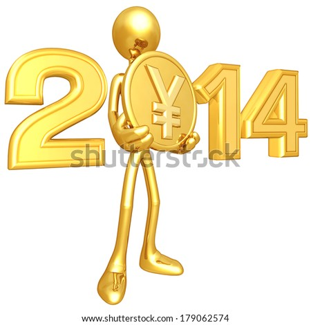 Gold Guy With Gold Coin - stock photo