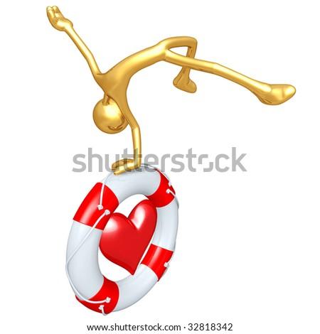 Gold Guy With Lifebuoy Heart - stock photo