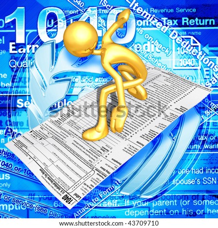 Gold Guy With Tax Form - stock photo
