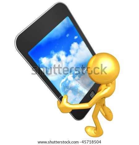 Gold Guy With Touch Screen Clouds - stock photo