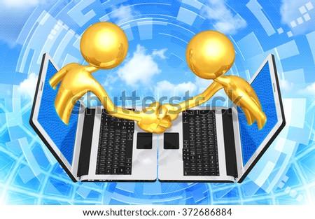 Gold Guys E-Business Handshake - stock photo