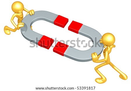 Gold Guys With Giant Magnets - stock photo