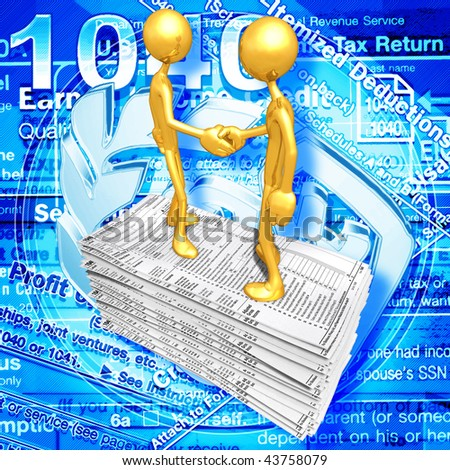 Gold Guys With Tax Form - stock photo