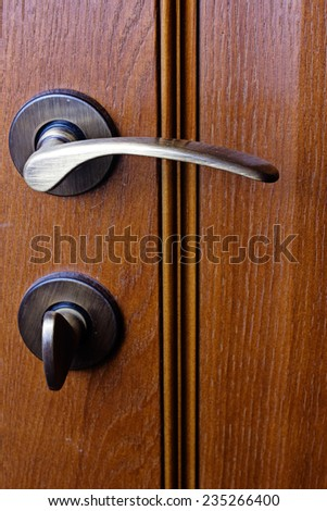 Gold handle and wooden door close up