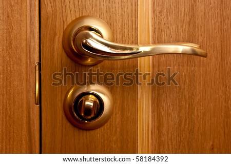 Gold handle and wooden door close up - stock photo