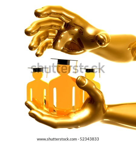 Gold hands and graduated icon symbols - stock photo