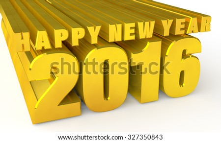 Gold Happy new year 2016 3d rendering
