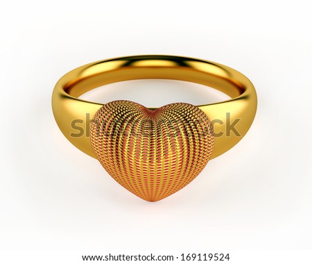 Gold Heart and wedding rings isolated on white background - stock photo