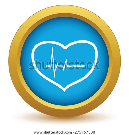 Gold heart beating icon on a white background