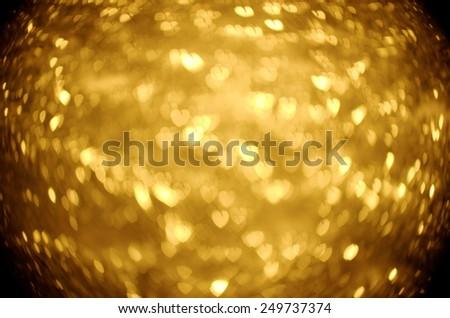 gold heart bokeh background - stock photo
